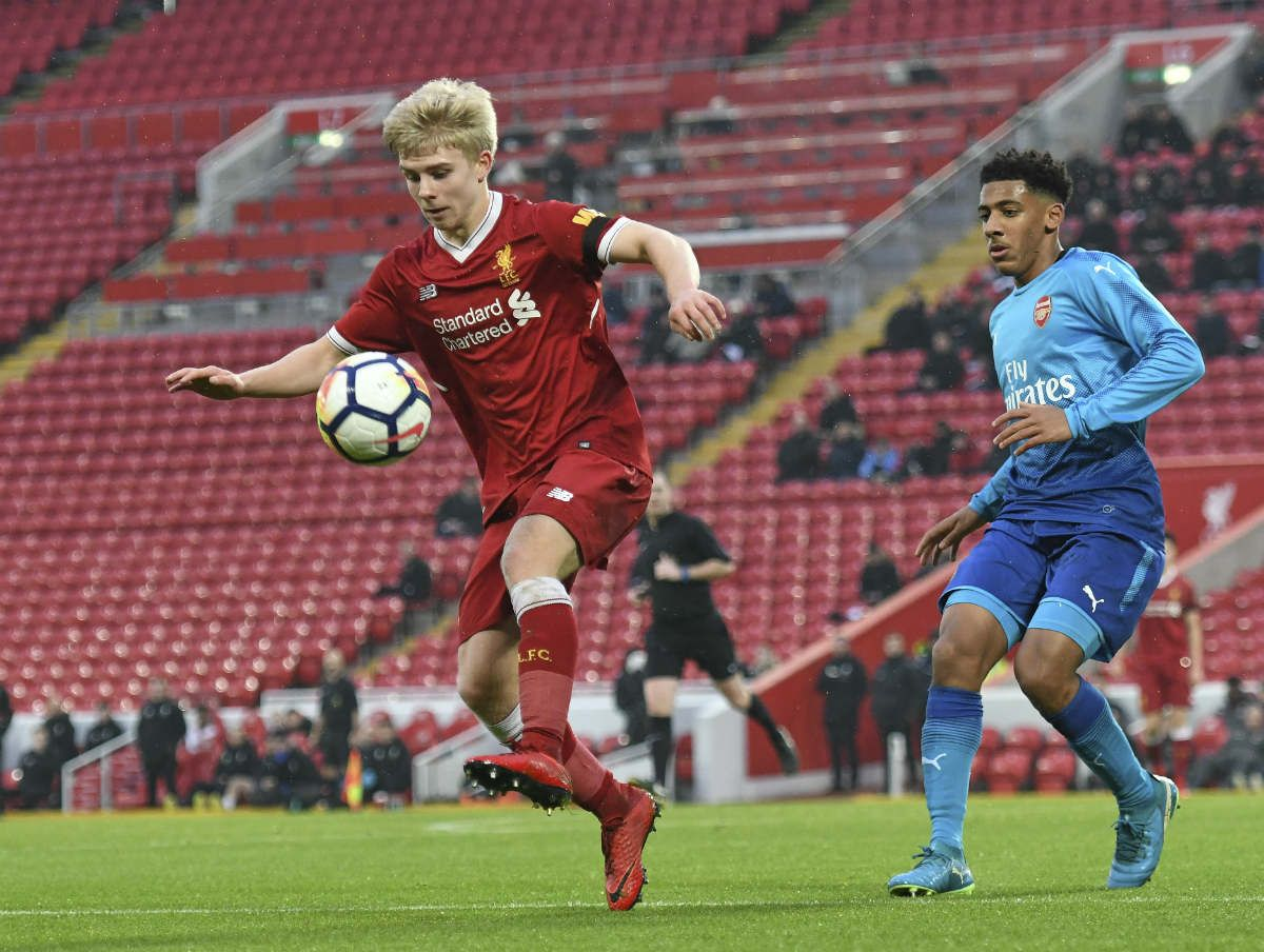 Edvard Tagseth in action for Liverpool U18