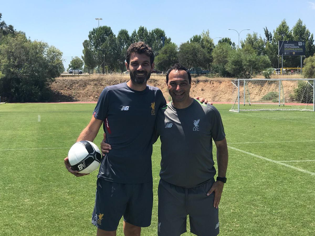 Ara pictured with one of his coaches at LFC IA Cyprus