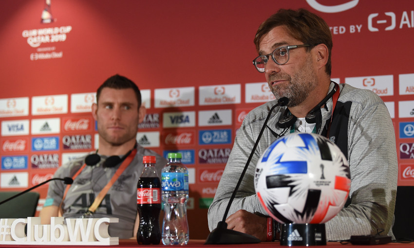 James Milner and Jürgen Klopp at a FIFA Club World Cup press conference