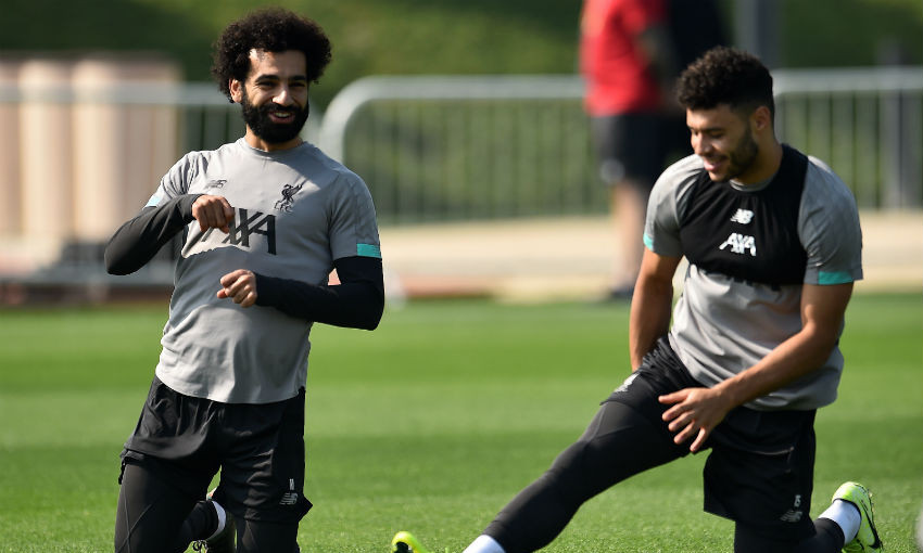Mohamed Salah and Alex Oxlade-Chamberlain of Liverpool FC