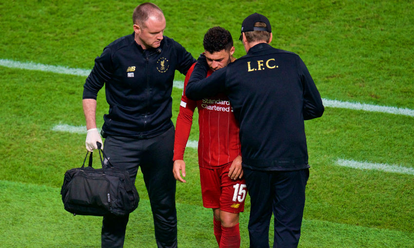 Alex Oxlade-Chamberlain is treated during the FIFA Club World Cup Qatar 2019 Final match between CR Flamengo and Liverpool FC at the Khalifa Stadium.
