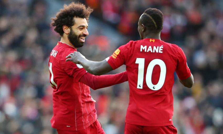 Mohamed Salah and Sadio Mane celebrate