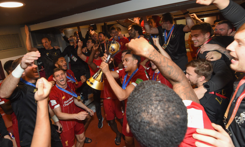 Liverpool celebrate with the FIFA Club World Cup