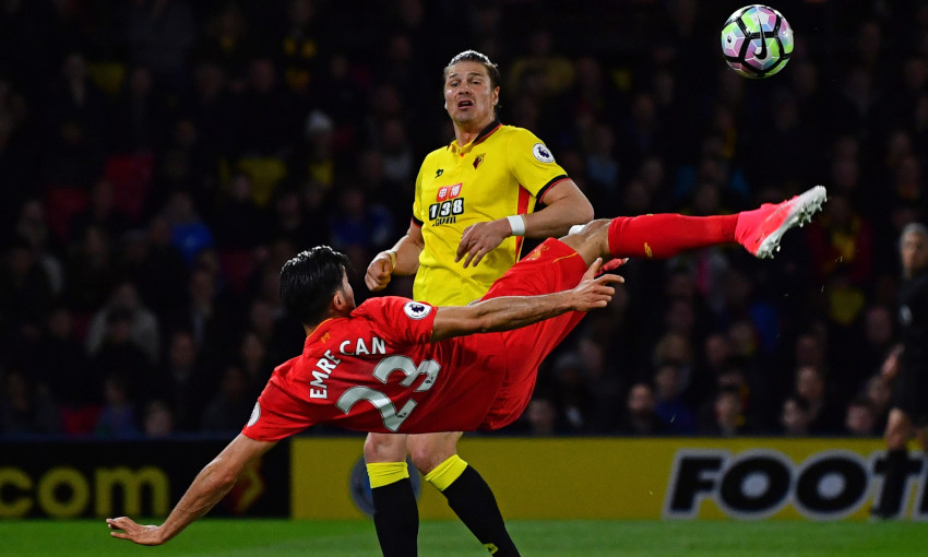Emre Can scores an overhead kick against Watford in May 2017