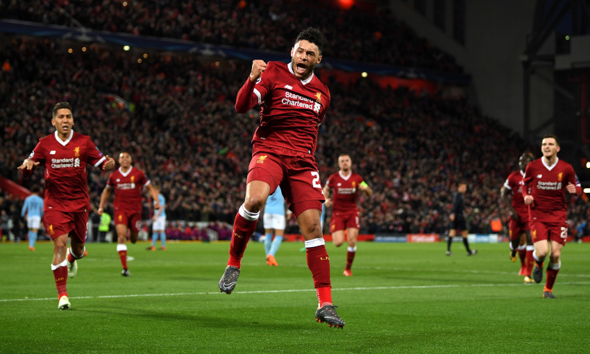 Alex Oxlade-Chamberlain scores against Manchester City in April 2018