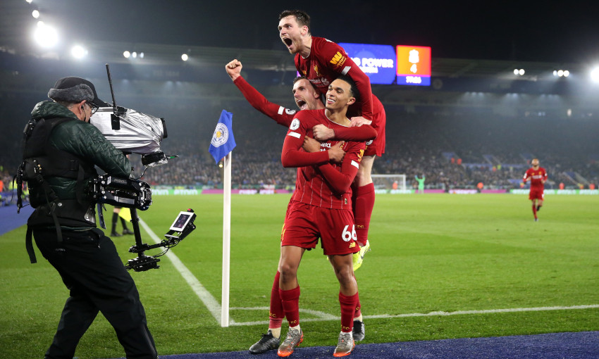 Andy Robertson celebrates against Leicester City
