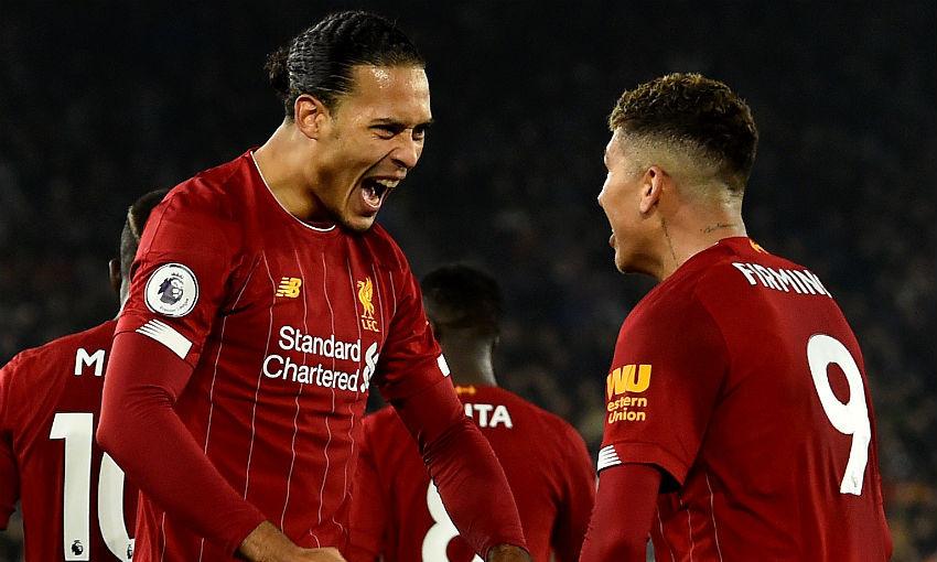 Virgil van Dijk and Roberto Firmino of Liverpool FC