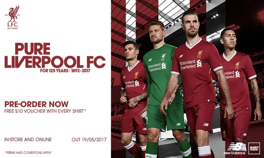 521ecc0be3c ... lfc s 125th anniversary home kit for 2017 18. Standard Chartered New  Balance Western Union AXA. Next article