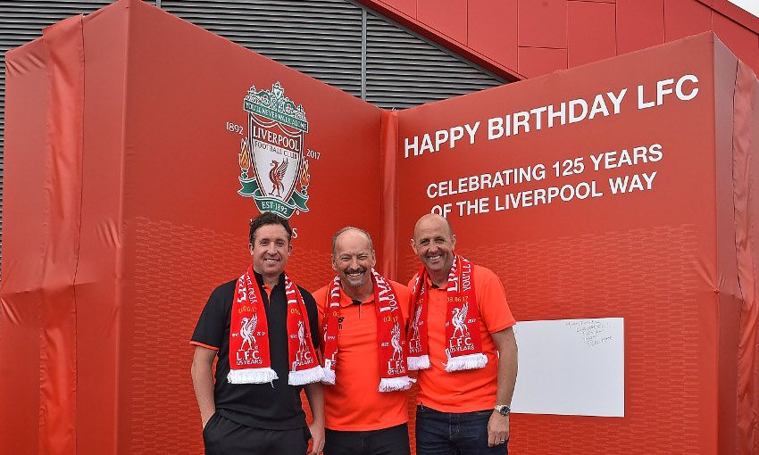 Photos Legends Unveil Giant Birthday Card At Anfield Liverpool Fc