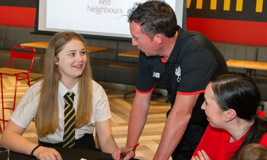 Robbie Fowler visits a local school on behalf of the LFC Foundation