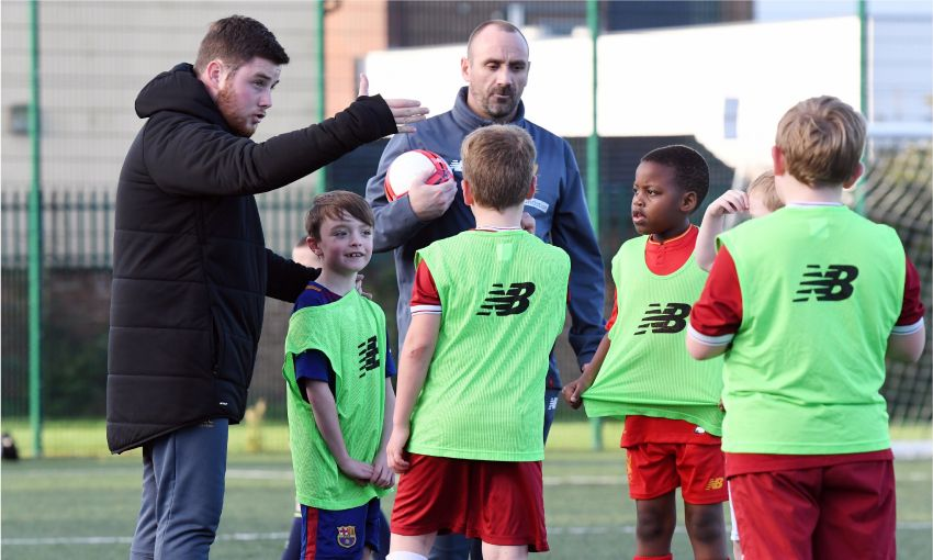 casual coach for LFC Foundation coaching football to youngsters