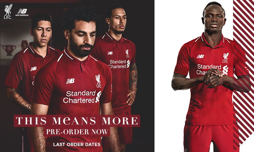 ba49bc601 ... liverpool fc home kit 2018 19. Standard Chartered New Balance Western  Union AXA. Next article