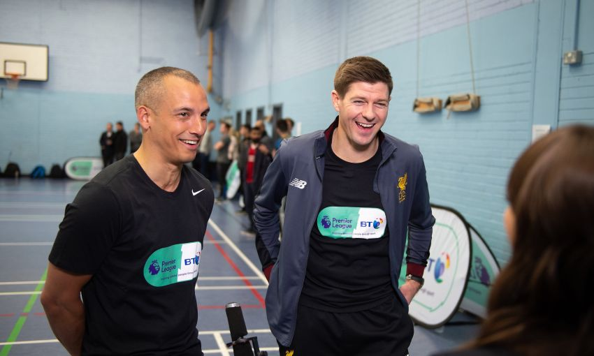 steven gerrard leon osman play blind football bt sport premier league