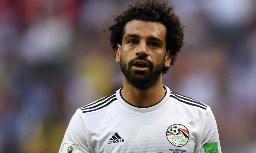 Mohamed Salah lines up for Egypt at the 2018 World Cup finals.