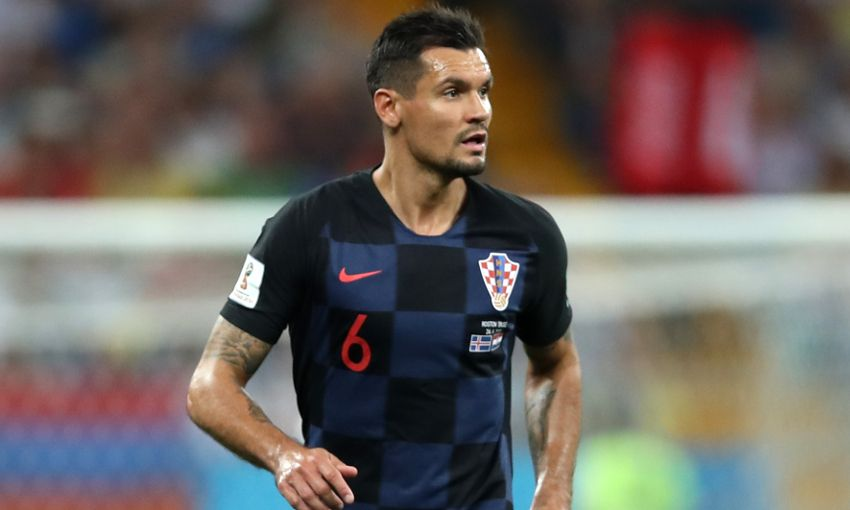 Dejan Lovren lines up for Croatia during the 2018 World Cup finals.
