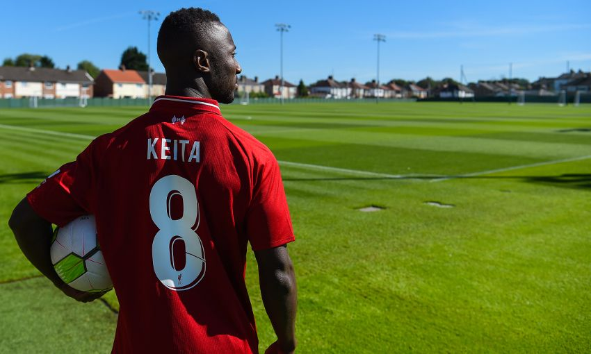 Naby Keita arrives at Liverpool FC