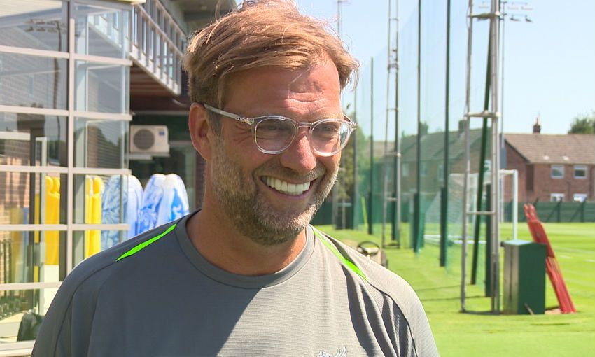 Jürgen Klopp, Liverpool FC manager, is interviewed at Melwood