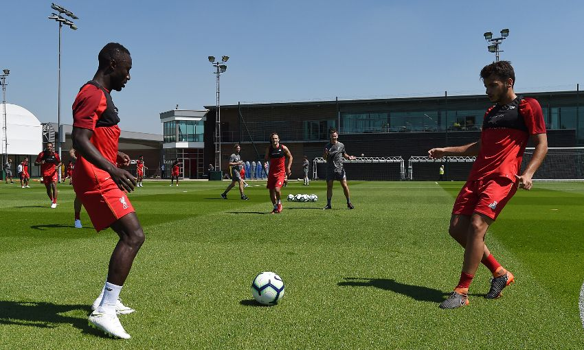 Liverpool players train at Melwood