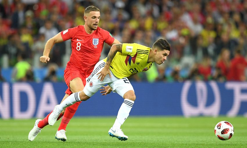Jordan Henderson of England against Colombia