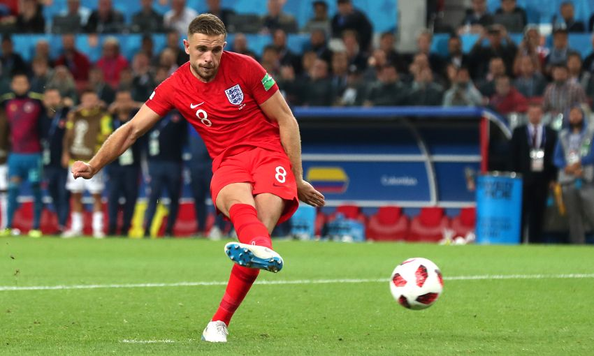 Jordan Henderson takes a penalty for England at the World Cup