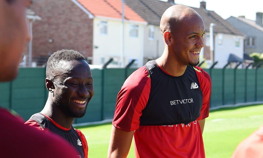Liverpool's Naby Keita and Fabinho at Melwood