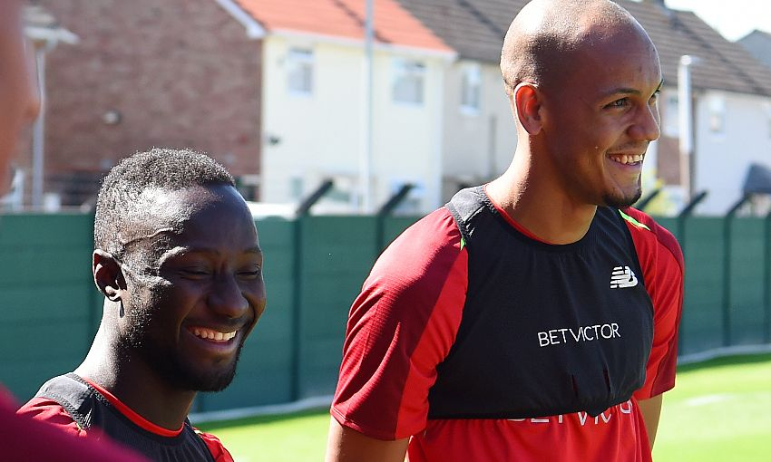Liverpool's Naby Keita and Fabinho at Melwood