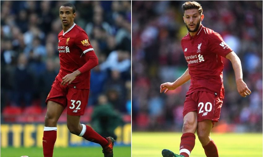 Joel Matip and Adam Lallana of Liverpool FC