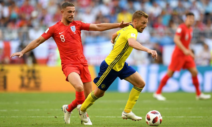 Jordan Henderson in action for England at the World Cup