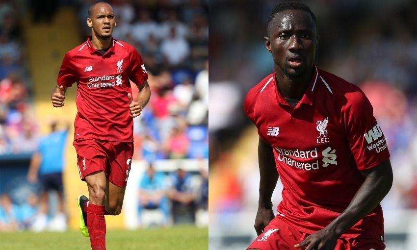 Naby Keita and Fabinho of Liverpool FC
