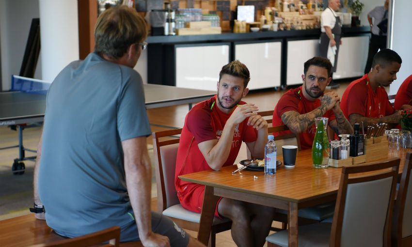 Adam Lallana and Danny Ings of Liverpool FC at Melwood