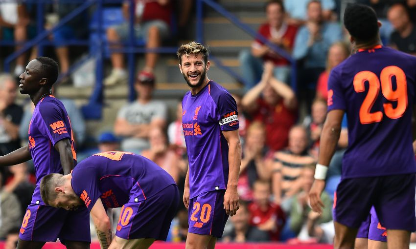 Adam Lallana celebrates scoring for Liverpool FC v Tranmere Rovers