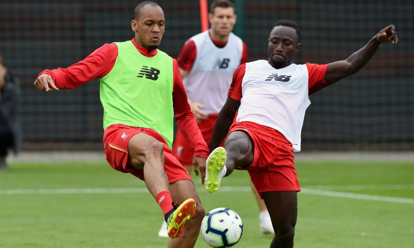 Liverpool FC's Naby Keita and Fabinho train at Melwood