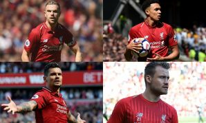 Jordan Henderson, Trent Alexander-Arnold, Dejan Lovren and Simon Mignolet of Liverpool FC