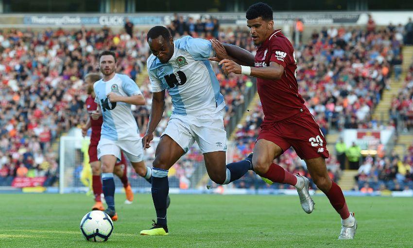 Liverpool FC striker Dominic Solanke in action v Blackburn Rovers