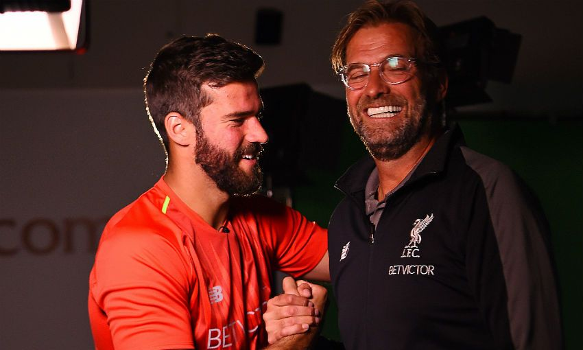Alisson Becker meets Jürgen Klopp at Melwood, Liverpool FC's training ground