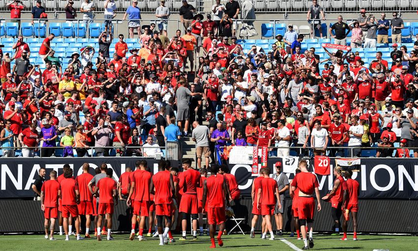 Liverpool train at the Bank of America Stadium in Charlotte.