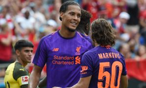 Virgil van Dijk scores for Liverpool against Borussia Dortmund in the International Champions Cup in Charlotte.