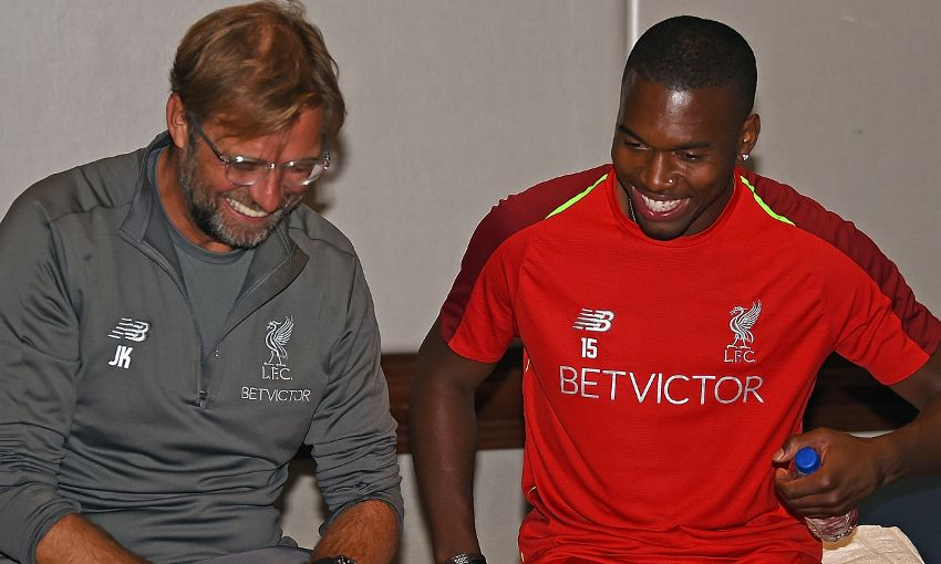 Liverpool's Daniel Sturridge with Jürgen Klopp