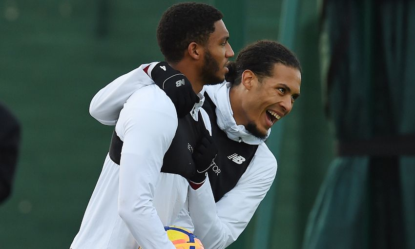 Joe Gomez and Virgil van Dijk train at Melwood.
