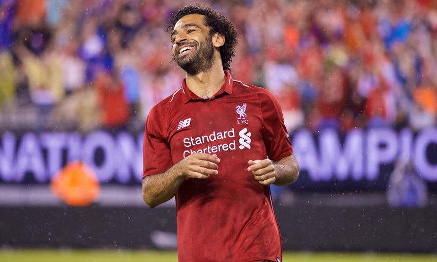 Mohamed Salah scores against Manchester City in New Jersey.