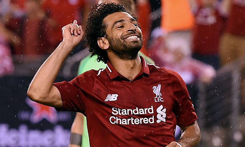 Mohamed Salah of Liverpool FC celebrates scoring v Manchester City