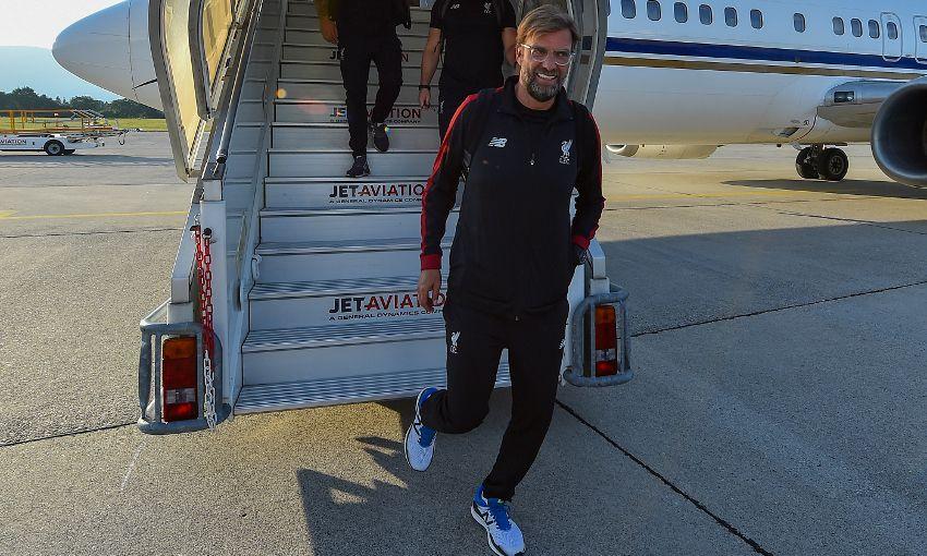 Liverpool arrive at Geneva airport.
