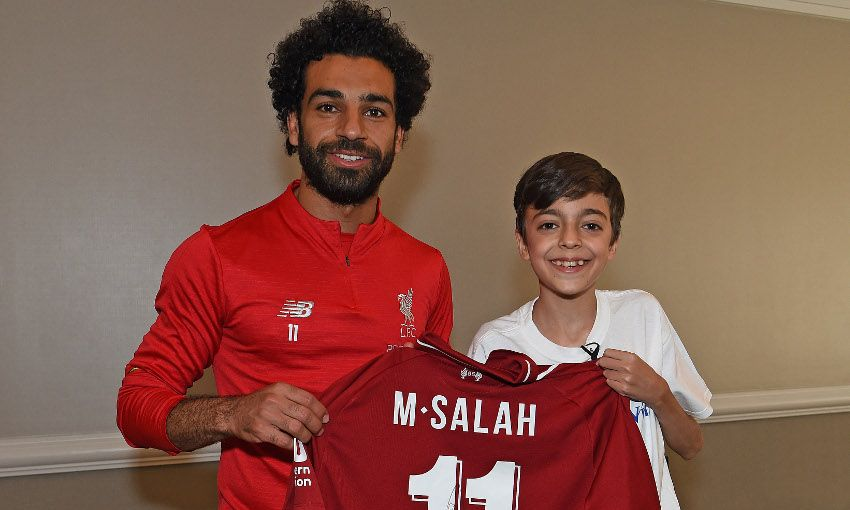 hot sale online 42d1c e6512 Young fan's dreams come true as Mohamed Salah drops in ...