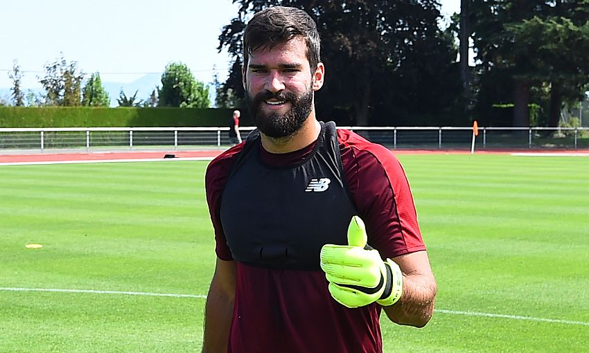 Alisson Becker and Roberto Firmino train in Evian with Liverpool FC.