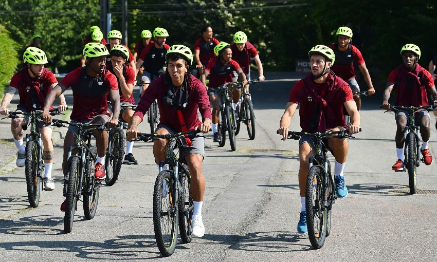 Jürgen Klopp and Liverpool FC players cycle to training in Evian