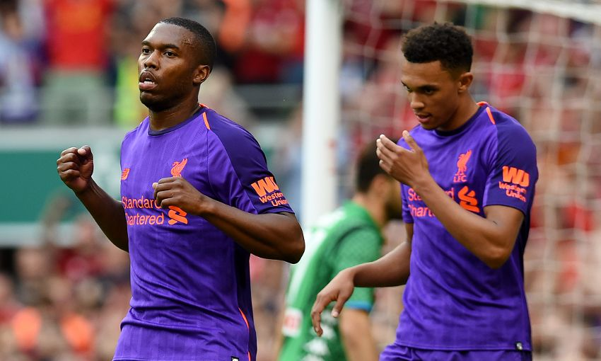 Daniel Sturridge celebrates scoring for Liverpool