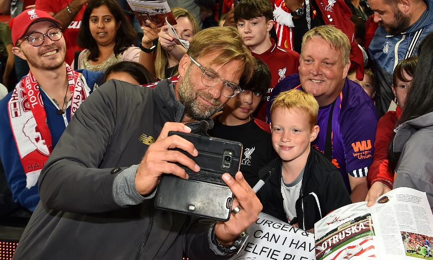 Players meet fans at Anfield on August 7