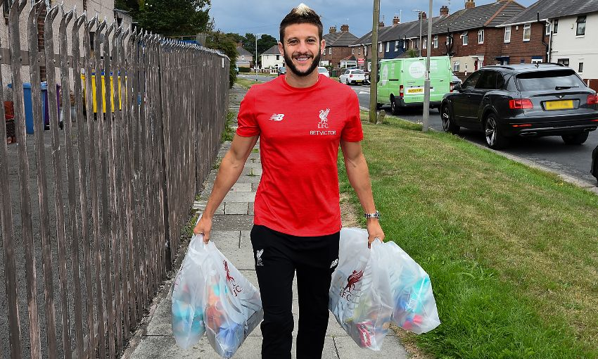 Adam Lallana visits a local foodbank