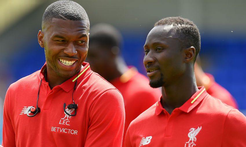 Naby Keita and Daniel Sturridge of Liverpool FC
