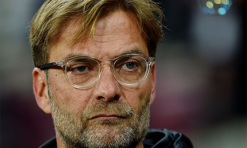Liverpool manager Jürgen Klopp looks on from the touchline against West Ham United.